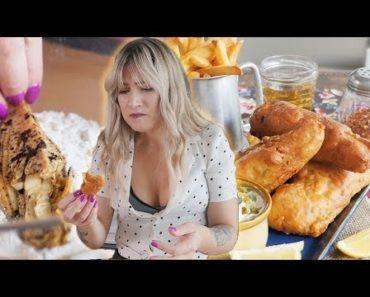 Making vegan FISH from BANANA BLOSSOMS?!   Vegan Fish and Chips Recipe