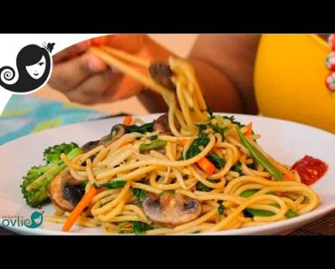 Stir-Fried Vegetable Spaghetti Recipe (vegetarian / vegan recipe)