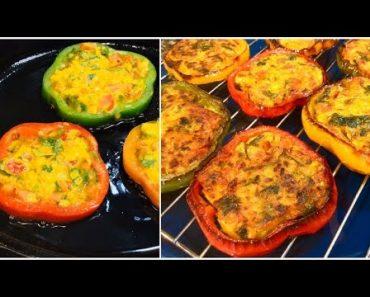 QUICK & EASY VEGAN BELL PEPPER RECIPE    STUFFED CAPSICUM RINGS   Vegan Recipe