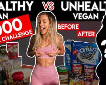 I ate 5000 CALORIES of Vegan Junk Food   Healthy vs Unhealthy Vegan Challenge