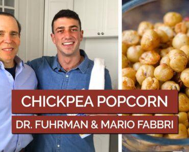 Dr. Fuhrman Chickpea Popcorn Recipe w Mario Fabbri  #veganrecipes #eattolive