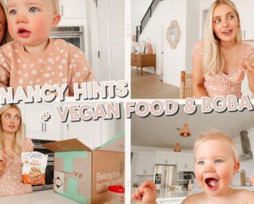 explaining pregnancy hints we gave, vegan food haul & boba tea date!