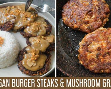 Try these Burger Steaks w/ Mushroom Gravy! A tasty vegan recipe made inspired by Jollibee's 🐝