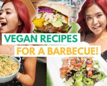 VEGAN BBQ RECIPES (grillable veggie burger, macaroni salad, tempeh skewers)