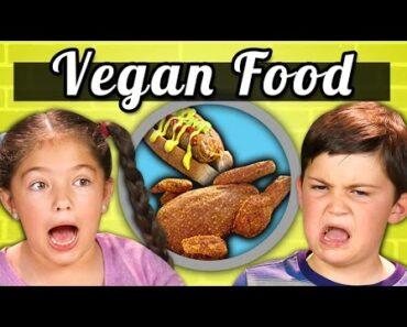 KIDS EAT VEGAN FOOD! (Vegan Shrimp, Chicken, Ice Cream) |Kids Vs. Food